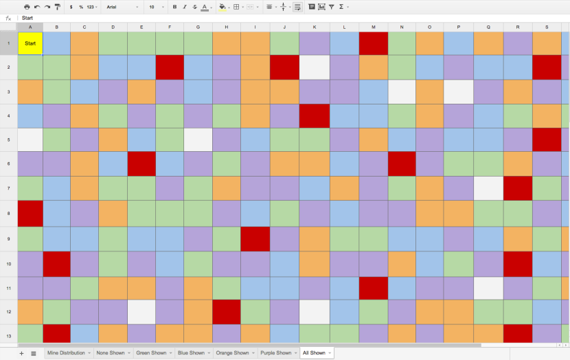 Spreadsheet Prototype - All Colors Shown
